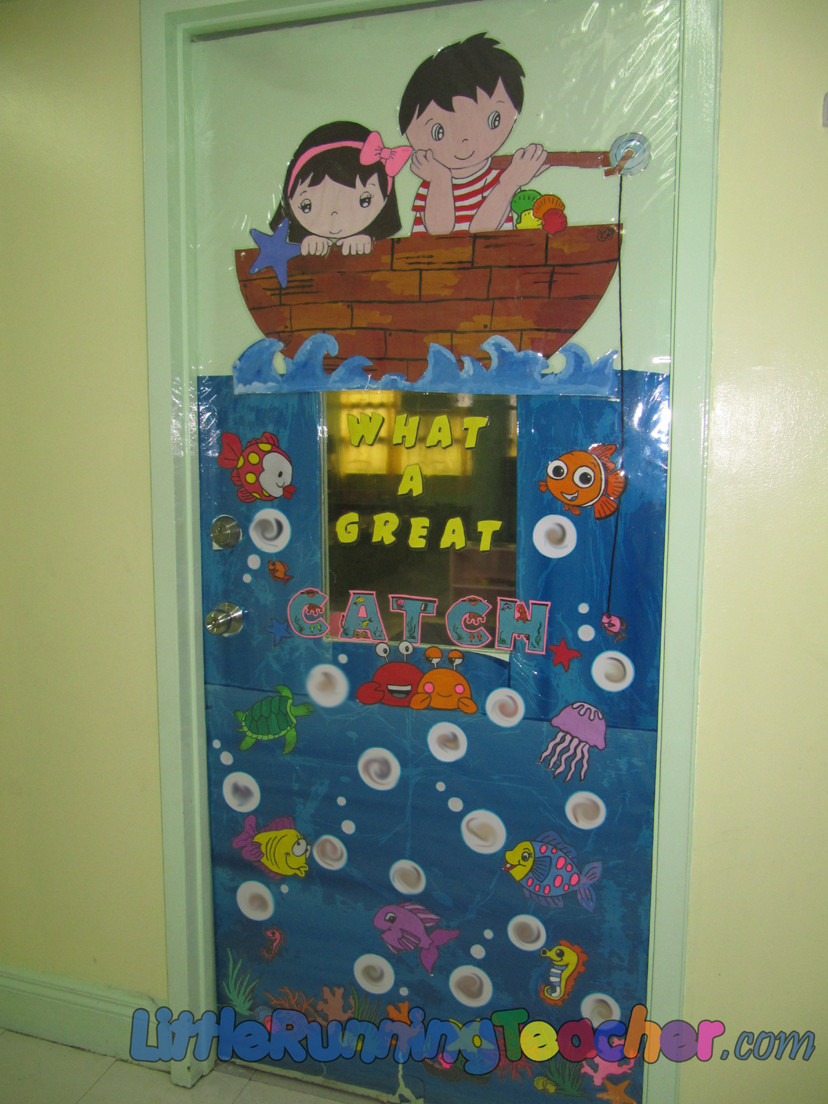 classroom door decor little running teacher