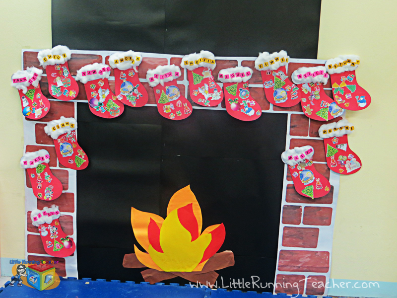 Classroom Fireplace Decor For Christmas Little Running